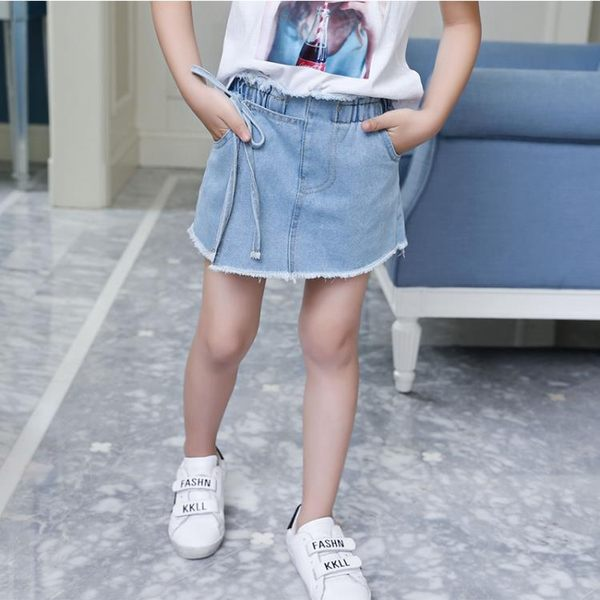 女童假兩件牛仔裙百搭短褲