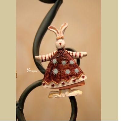 美式鄉村兔子仿木質創意冰箱貼3個組(圖一)