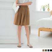 《BA2174》純色質感雪紡腰鬆緊寬褲褲裙.4色 OrangeBear
