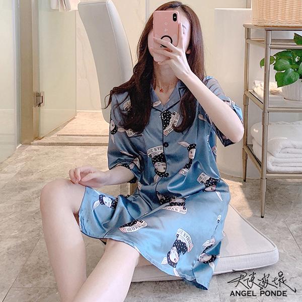 【LD0436】夏天短袖薄款冰絲緞面開衫裙大尺碼連身居家睡衣居家罩衫馬甲藍色 (一件式)