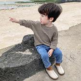 男童秋裝兒童t恤長袖2019新款男寶寶條紋打底衫春秋男孩上衣洋氣
