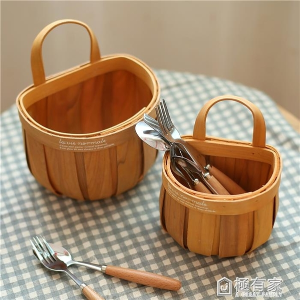 日式手工編織木片帶提手籃子藤編收納籃野餐面包籃水果籃儲物掛籃 ATF 極有家