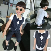 男童裝 紳士馬甲假兩件套兒童小西裝夏款短袖禮服套裝 LR893【歐巴生活館】