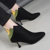 女2018秋冬新款靴子歐美短靴中跟細跟百搭尖頭馬丁靴彩色女神靴子【全館上新】