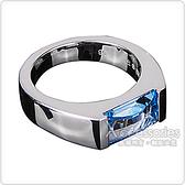 萬寶龍MONTBLANC 壓印LOGO淺藍寶石鑲飾寬版戒指(銀)