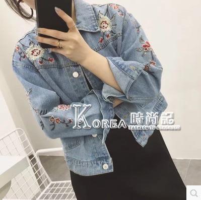 牛仔外套—韓國ulzzang原宿風bf寬鬆水洗淺藍色花朵刺繡短款牛仔外套女學生 Korea時尚記