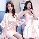 冰絲吊帶睡裙+睡袍兩件式性感蕾絲花邊絲綢...