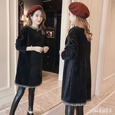 中大尺碼孕婦裙  秋冬裝洋裝新款時尚加絨加厚外出哺乳衣寬松流蘇衛衣裙 js19602『Pink領袖衣社』