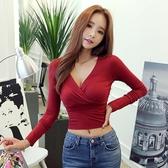 【現貨】韓版修身性感露臍短款長袖T恤女百搭深V領交叉低胸上衣 居享優品