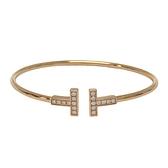 Tiffany & Co 蒂芬妮 T Wire系列 18K玫瑰金T字鑲鑽線圈手鍊 Bracelet【BRAND OFF】