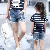 女童牛仔短褲2018新款夏韓版時尚中大童破洞女孩薄款兒童褲子外穿   米娜小鋪
