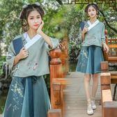 漢服 古風漢元素服飾日常改良古裝漢服雨信繡花半裙套裝中國風 巴黎春天