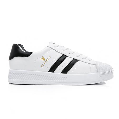 PLAYBOY 簡約潮流 條紋拼接休閒鞋-黑(Y5318白黑)