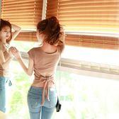 心機婊上衣短袖女夏2018新款韓版個性t恤女露背緊身性感女裝夜店【諾克男神】