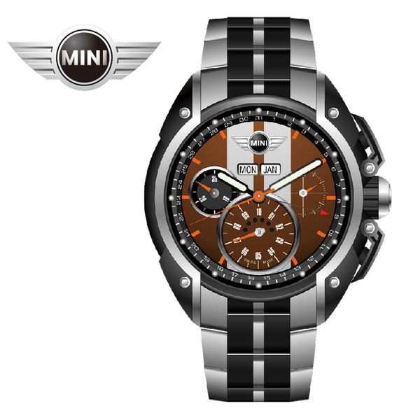 【萬年鐘錶】MINI Swiss Watches英國風格 綠面白條三眼外圈數字日期 銀黑雙色鋼鍊帶錶   45mm MINI-04S