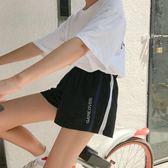 韓版休閒跑步運動短褲女夏季新款百搭寬鬆學生高腰大碼胖MM黑 〖米娜小鋪〗