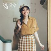 Queen Shop【01023516】小V領袖反摺襯衫 兩色售*現+預*