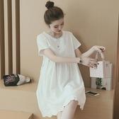 孕婦裝 (短袖連身裙)-蕾絲花邊優雅氣質女連衣裙73mx5[時尚巴黎]