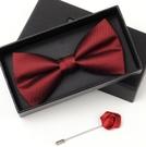 男士新郎結婚婚禮領結紅色襯衫