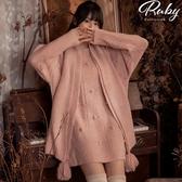洋裝 毛線球鏤空針織長袖洋裝-Ruby s 露比午茶