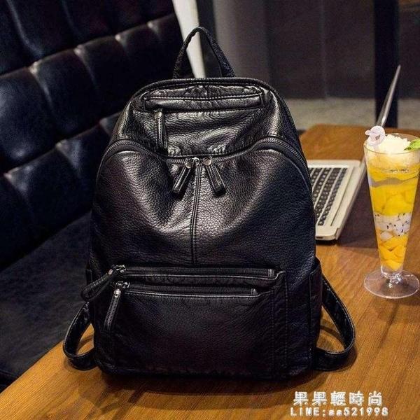 加大號軟皮後背包女輕薄柔軟女背包2020新款大容量休閒包旅行包包【果果新品】