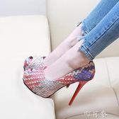 12CM高跟細跟單鞋韓版時尚防水台夜店拼色編織魚嘴鞋 盯目家