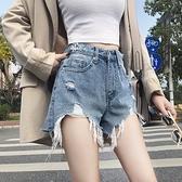 高腰寬鬆泫雅牛仔短褲女夏網紅同款淺色爛破洞百搭超短褲子潮 【七七小鋪】