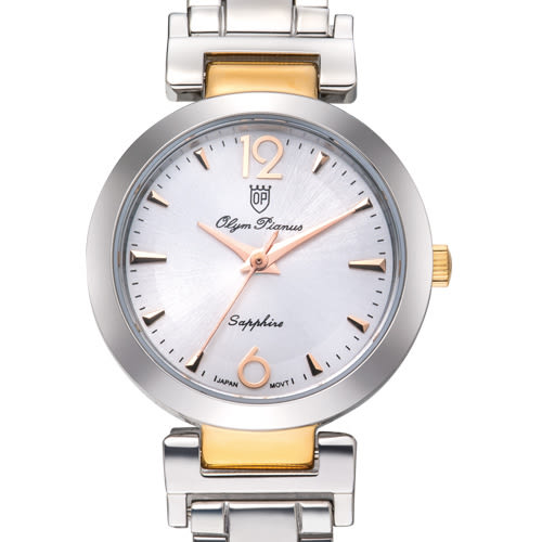 Olym Pianus奧柏表 想樂份子流行簡約腕錶-黑X玫瑰金/24mm