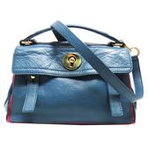SAINT LAURENT YSL 聖羅蘭 Muse Two 藍色牛皮紅色帆布手提肩背包 283761 【二手名牌BRAND OFF】