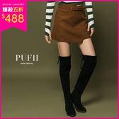 現貨 PUFII-膝上靴 長腿顯瘦麂皮後綁帶內刷毛長靴高筒靴-1011 秋【CP15338】