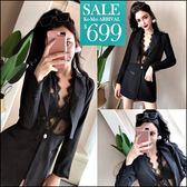 克妹Ke-Mei【ZT47308】泰國潮牌 奢華睫毛蕾絲併接西裝外套二件式洋裝套裝
