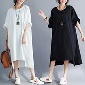 中大尺碼洋裝 2021夏季新款胖妹妹寬鬆大碼顯瘦中長裙文藝復古棉麻拼接連身裙女