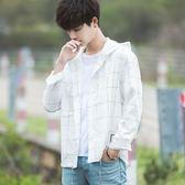 正韓男士連帽長袖 寬鬆格子襯衫 衣服外套學生潮流寸衫