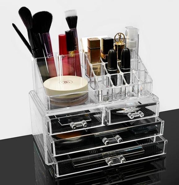 壓克力收納盒桌面抽屜式大號梳妝台化妝盒透明化妝品收納盒QM 向日葵