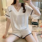 睡衣女夏季冰絲短袖性感兩件套韓版清新學生寬松可外穿家居服套裝