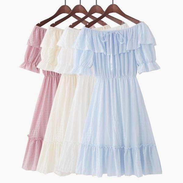 一字領洋裝 2020春夏韓版短袖露肩高腰雪紡沙灘連身裙