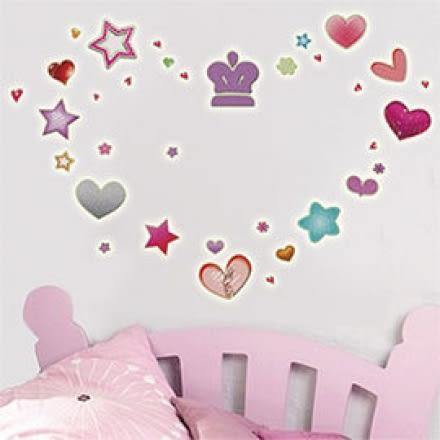 【採購世界】新款夜光造型壁貼-Y0006_心心星星
