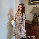 春裝裙子2021年新款春季氣質收腰西裝領格子洋裝女夏A字裙 雙十同慶 限時下殺