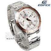 EDIFICE EFV-540D-7B 計時碼錶 帥氣風立體時刻賽車男錶 防水手錶 玫瑰金x白 EFV-540D-7BVUDF CASIO卡西歐