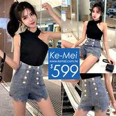 克妹Ke-Mei【ZT53418】歐美時尚感雙排軍釦高腰牛仔褲+斜肩上衣套裝