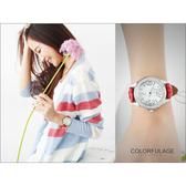 氣質女孩范倫鐵諾Valentino腕錶 滿鑽大數字真皮錶帶 柒彩年代【NE447】原廠公司貨