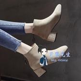 襪靴 粗跟短靴女2019新款秋冬季馬丁靴百搭網紅ins瘦瘦靴中跟加絨襪靴 4色