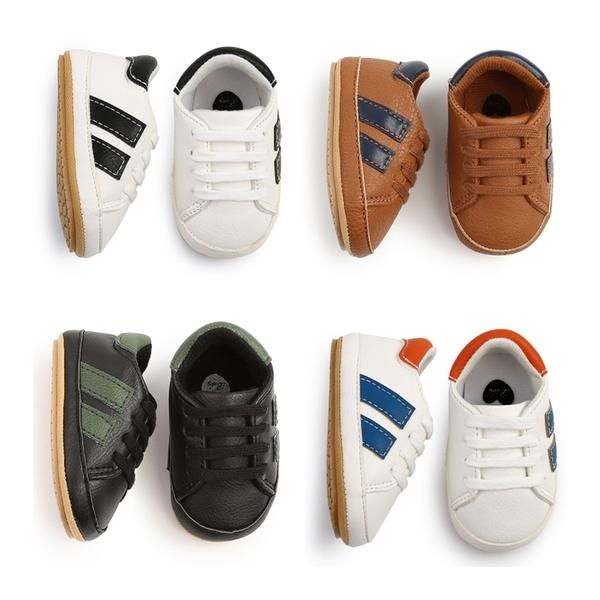 側邊雙條槓軟膠底運動學步鞋 軟膠片 學步鞋 嬰兒鞋 運動鞋 鞋子 新生兒 0~24M 橘魔法 現貨 寶寶鞋