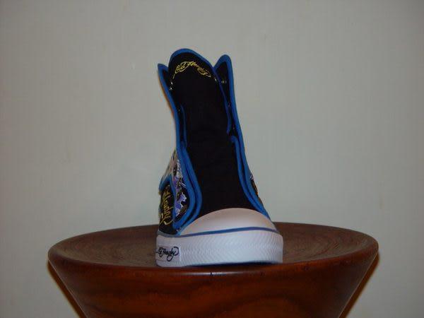【Ed Hardy】黃老虎頭藍套男高筒帆布球鞋-黑