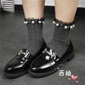 長統襪正韓蕾絲花邊珍珠襪子女復古純色中筒襪日系可愛百搭純棉短襪個性 萊爾富免運