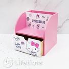 ﹝KittyPINK筆筒單抽盒﹞正版 單抽盒 收納盒 置物盒 木櫃 凱蒂貓 Kitty〖LifeTime一生流行館〗