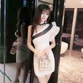 性感夜店洋裝小禮服時尚短裙荷葉邊斜領漏肩包臀連衣裙女