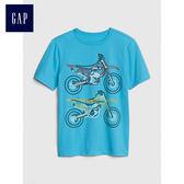 Gap男童 純棉印花圓領短袖T恤 中大童兒童休閒上衣夏季童裝 469213-寶藍