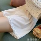 寬松安全褲女防走光可外穿薄款打底褲短褲顯瘦白色蕾絲夏季不卷邊 蘿莉小腳丫
