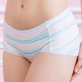 華歌爾-親膚印花系列-條紋M-LL中低腰平口褲(水手藍)QS8701-EI